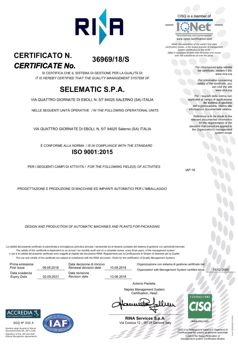 Certificato di Conformità Selematic Spa Macchine Automatiche per L'Imballaggio